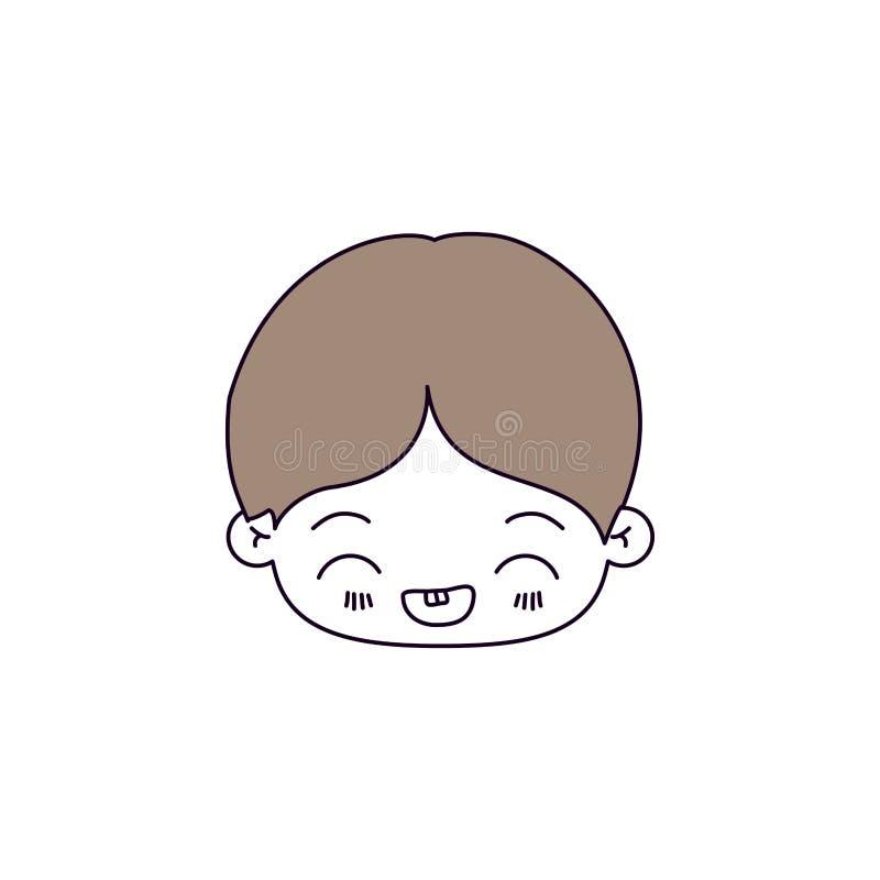 剪影颜色部分和小男孩kawaii头的浅褐色的头发有表情笑的 向量例证