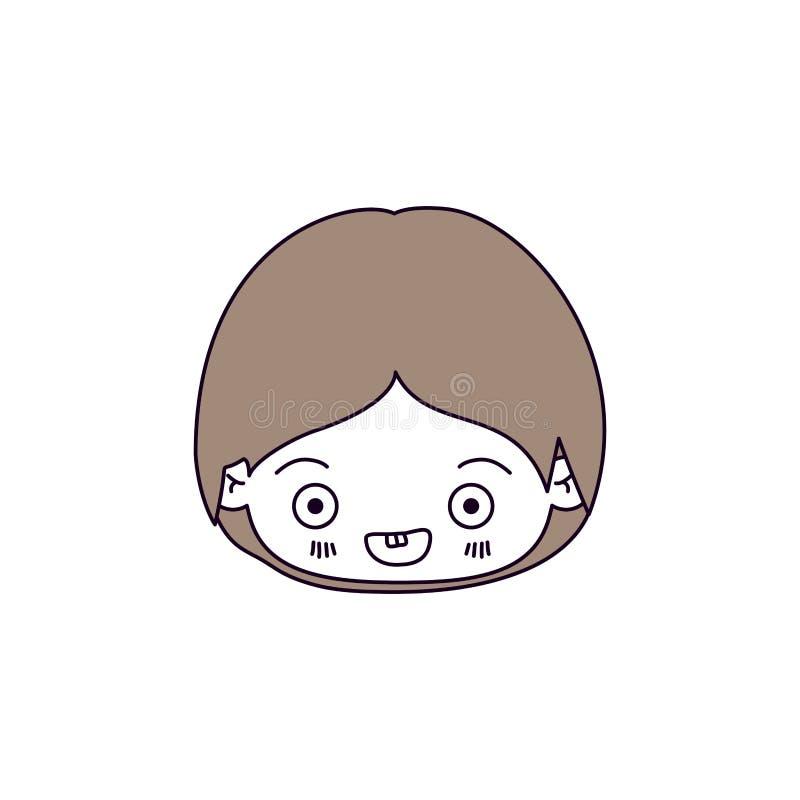 剪影颜色部分和kawaii头的浅褐色的头发小男孩微笑 库存例证