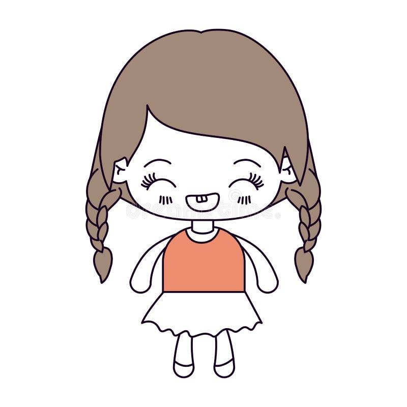 剪影颜色部分和kawaii女孩的浅褐色的头发有结辨的头发和表情笑的 库存例证