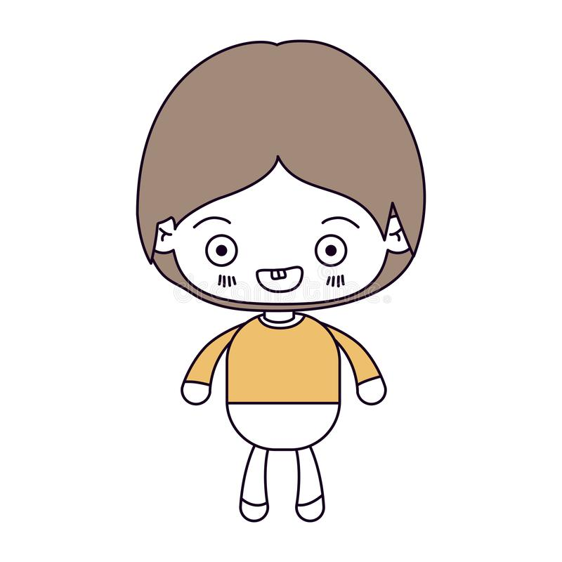 剪影颜色部分和kawaii小男孩微笑的浅褐色的头发 库存例证