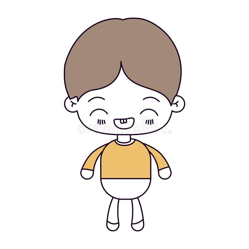 剪影颜色部分和kawaii小男孩的浅褐色的头发有表情笑的 皇族释放例证