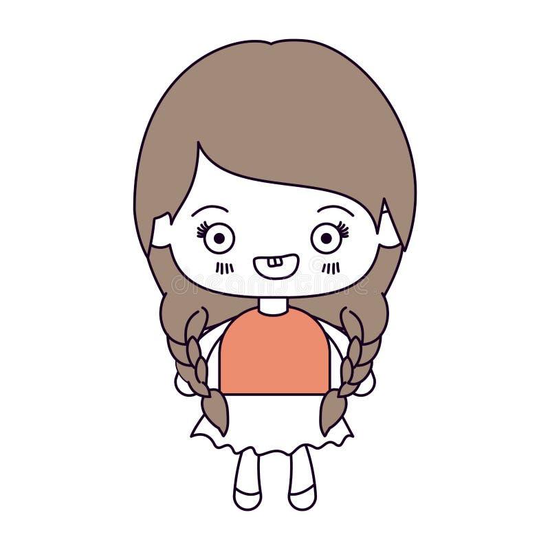 剪影颜色部分和kawaii逗人喜爱的女孩的浅褐色的头发有结辨的头发和微笑的 向量例证