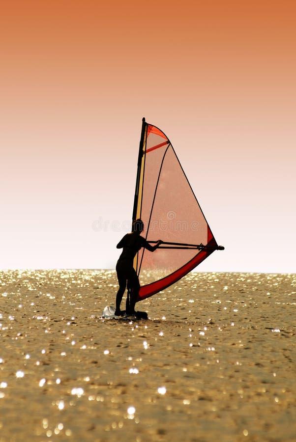 剪影风帆冲浪妇女 库存照片