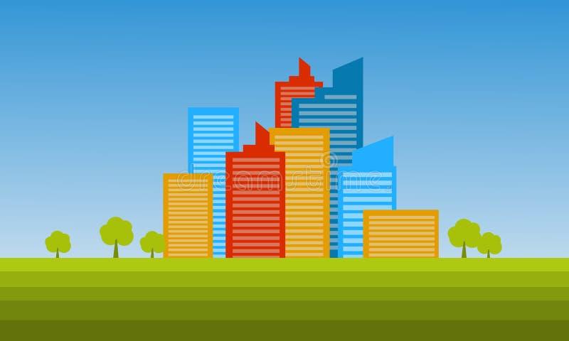 剪影风景五颜六色的大厦  向量例证