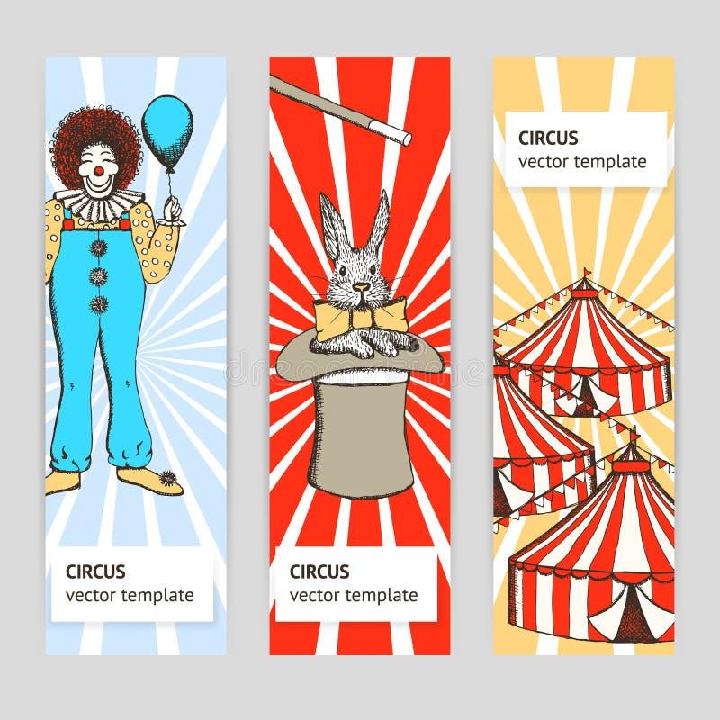 剪影马戏、兔子和小丑 向量例证