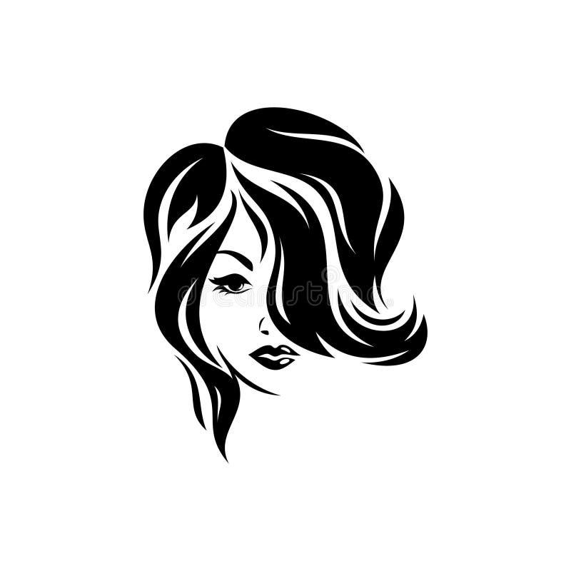 剪影,一个女孩的特写镜头画象有美好的卷发设计的 向量例证