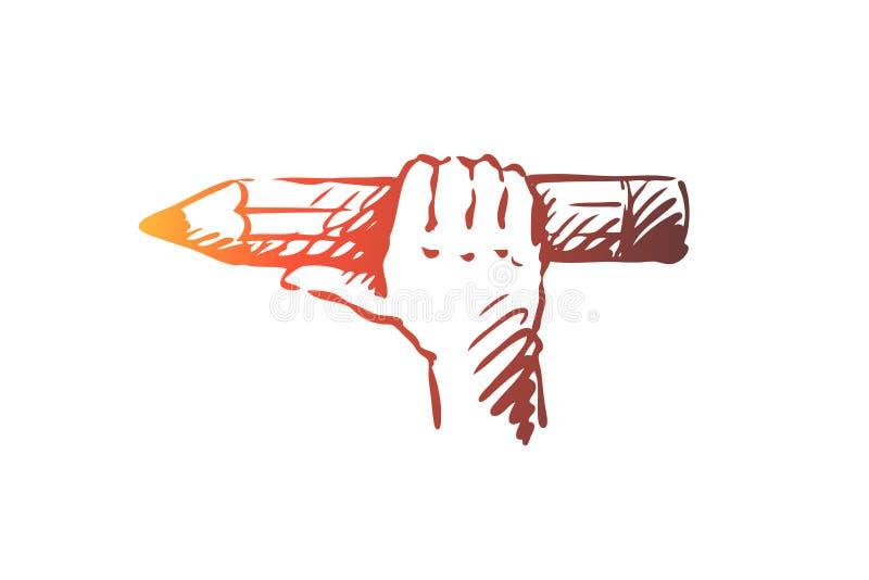剪影,对象,铅笔,手,画的概念 手拉的被隔绝的传染媒介 向量例证