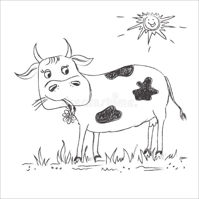 剪影,母牛,剪贴美术 库存例证