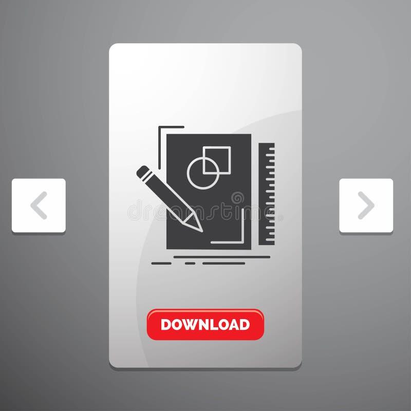 剪影,速写,设计、凹道、几何纵的沟纹象在喧闹的酒宴页码滑子设计&红色下载按钮 皇族释放例证
