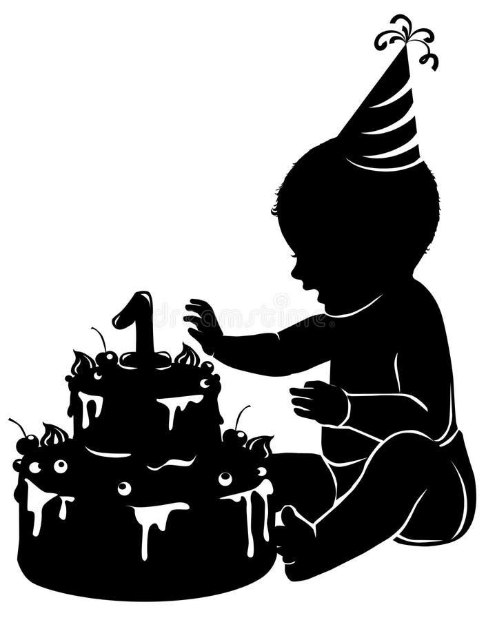 剪影婴孩与首先蛋糕生日 皇族释放例证