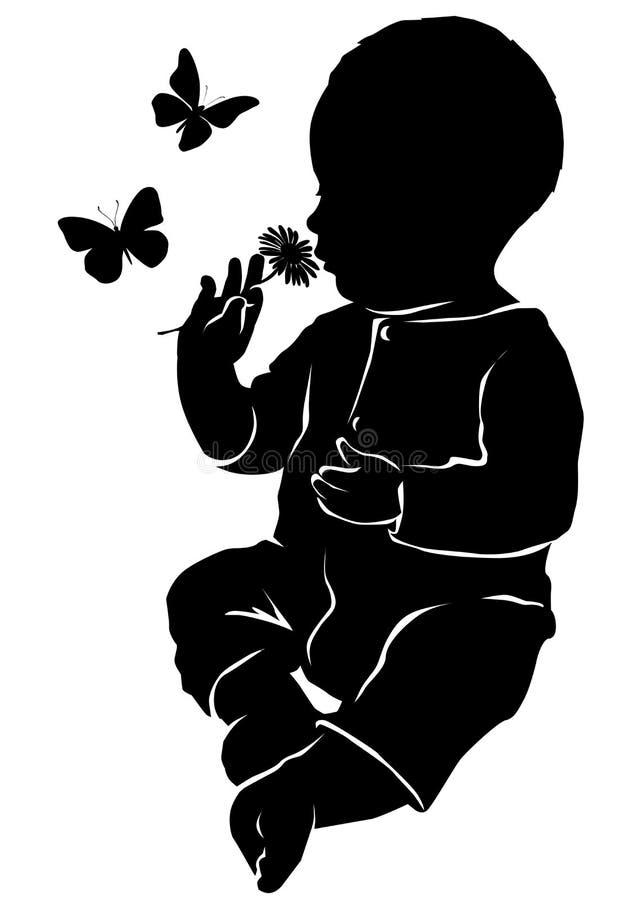 剪影婴孩花和蝴蝶 库存例证