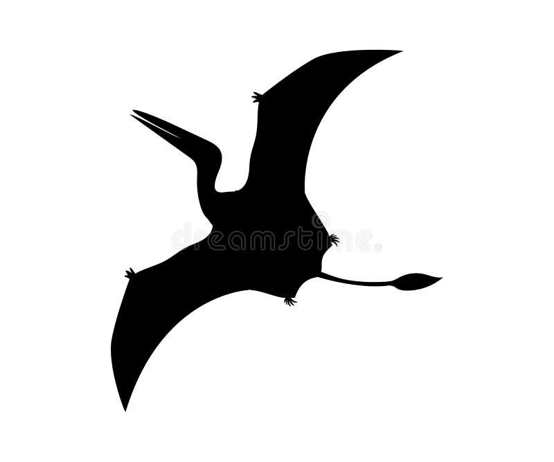 剪影Pterosaur恐龙侏罗纪史前动物 库存例证