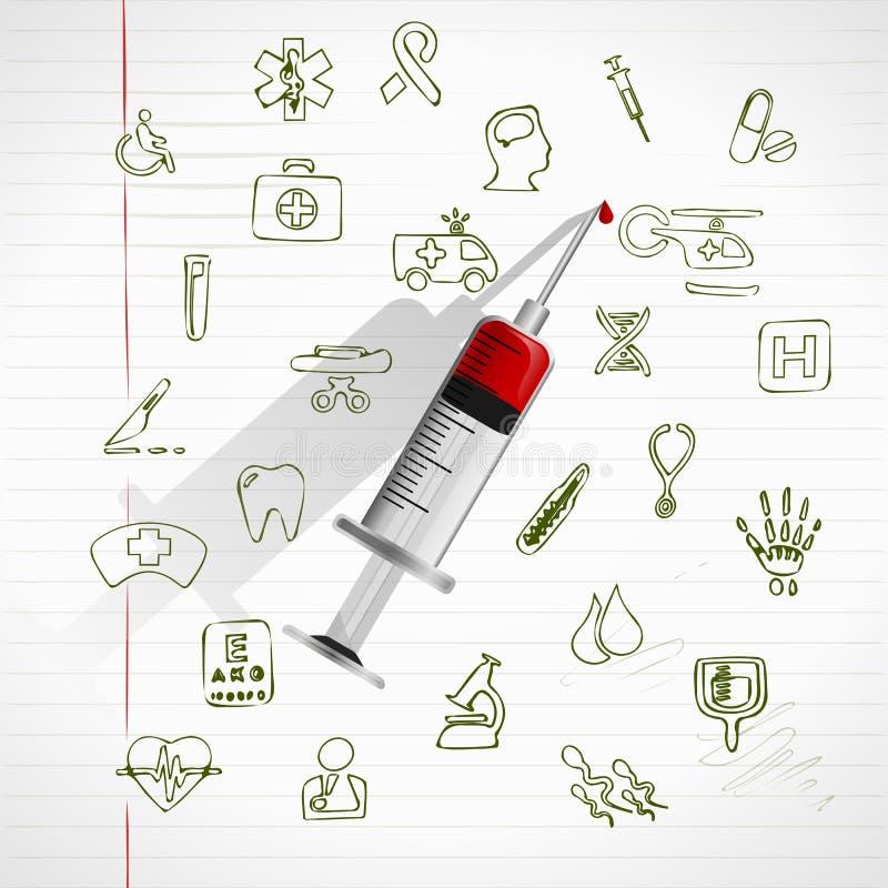 剪报包含数字式图标例证医疗路径集 库存例证