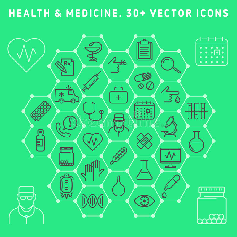 剪报包含数字式图标例证医疗路径集 免版税图库摄影