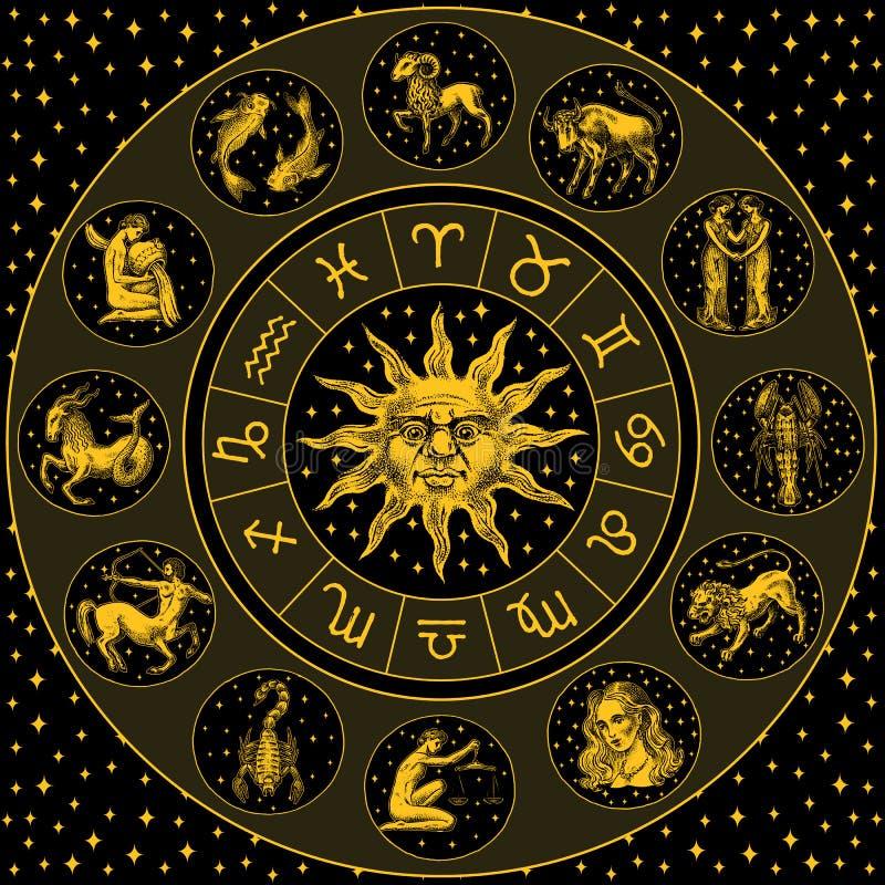 剪报包含数字式梯度例证路径轮子黄道带 与圈子、太阳和标志的占星术占星 在黑背景的日历模板 汇集概述 库存例证