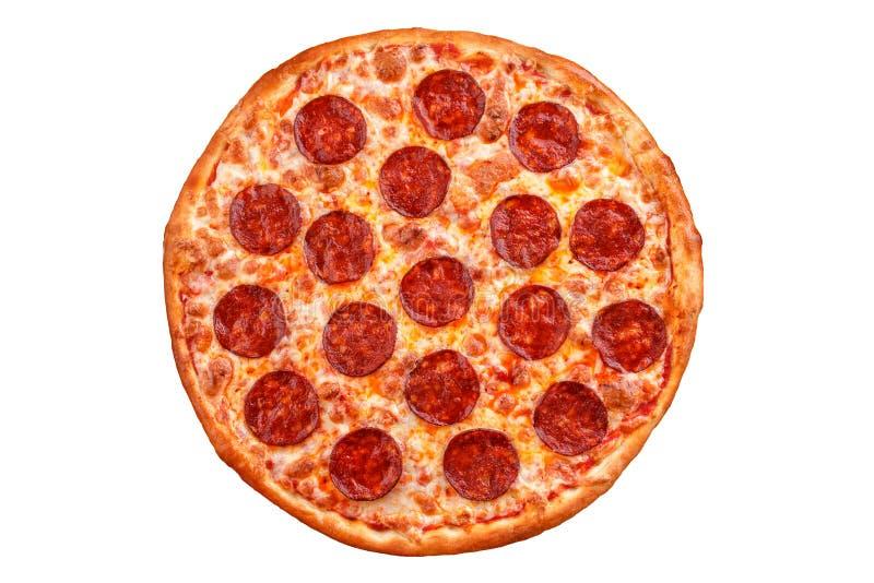 剪报图象查出的路径辣香肠烘饼 在白色背景的意大利薄饼 免版税库存图片