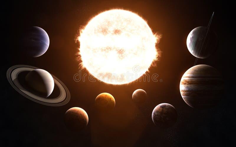 剪报地球重点水银路径太阳系金星 在太阳前面的所有行星 抽象科学小说 图象的元素由美国航空航天局装备 库存图片