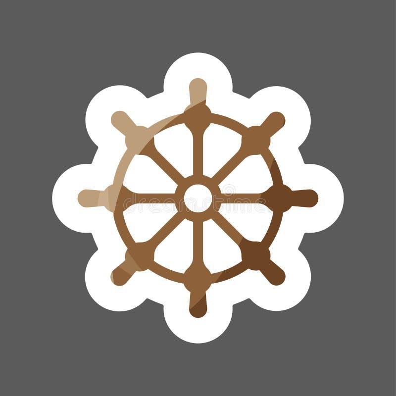 剪报查出在路径船轮子白色 小船方向盘色的贴纸象 船vec 皇族释放例证