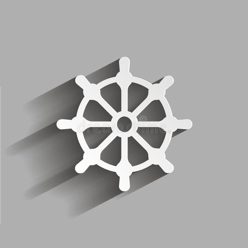 剪报查出在路径船轮子白色 小船方向盘象 与阴影d的例证 皇族释放例证