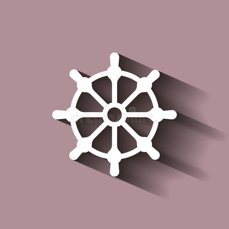 剪报查出在路径船轮子白色 小船方向盘象 与阴影d的例证 向量例证