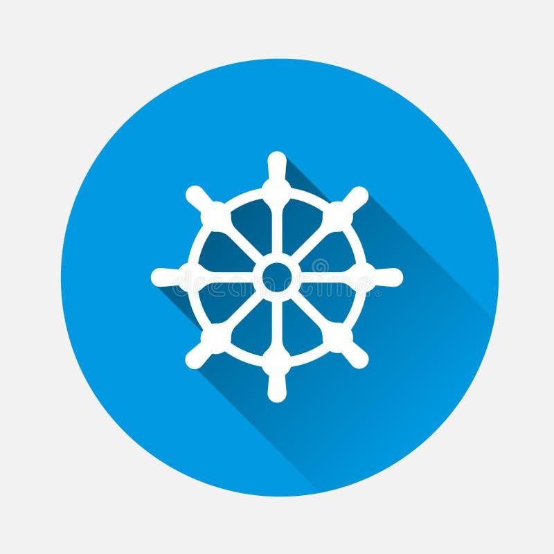 剪报查出在路径船轮子白色 小船方向盘象 在蓝色的传染媒介例证 库存例证