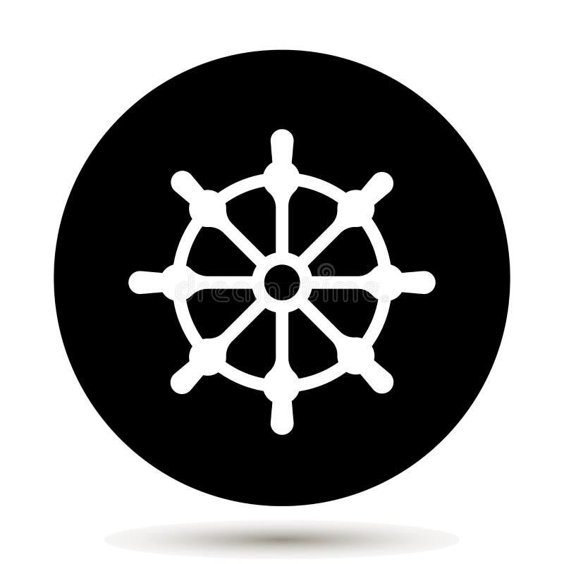 剪报查出在路径船轮子白色 小船方向盘象 库存例证
