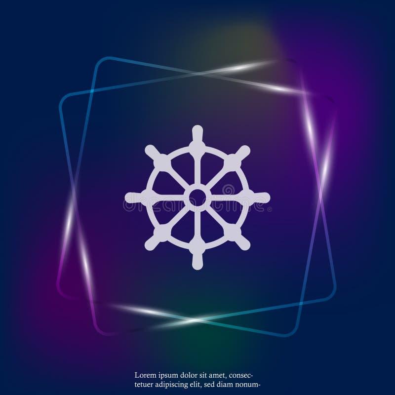 剪报查出在路径船轮子白色 小船方向盘霓虹灯象 被编组的层数 向量例证