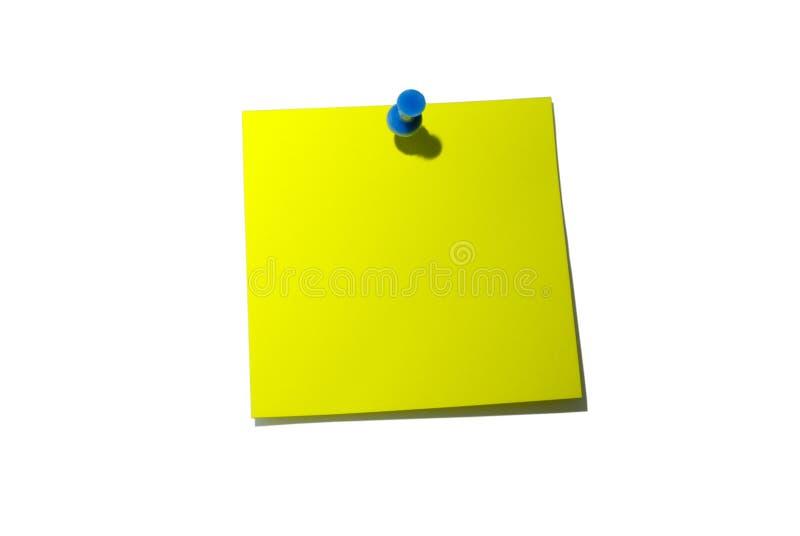 剪报附注路径粘性黄色 免版税库存照片