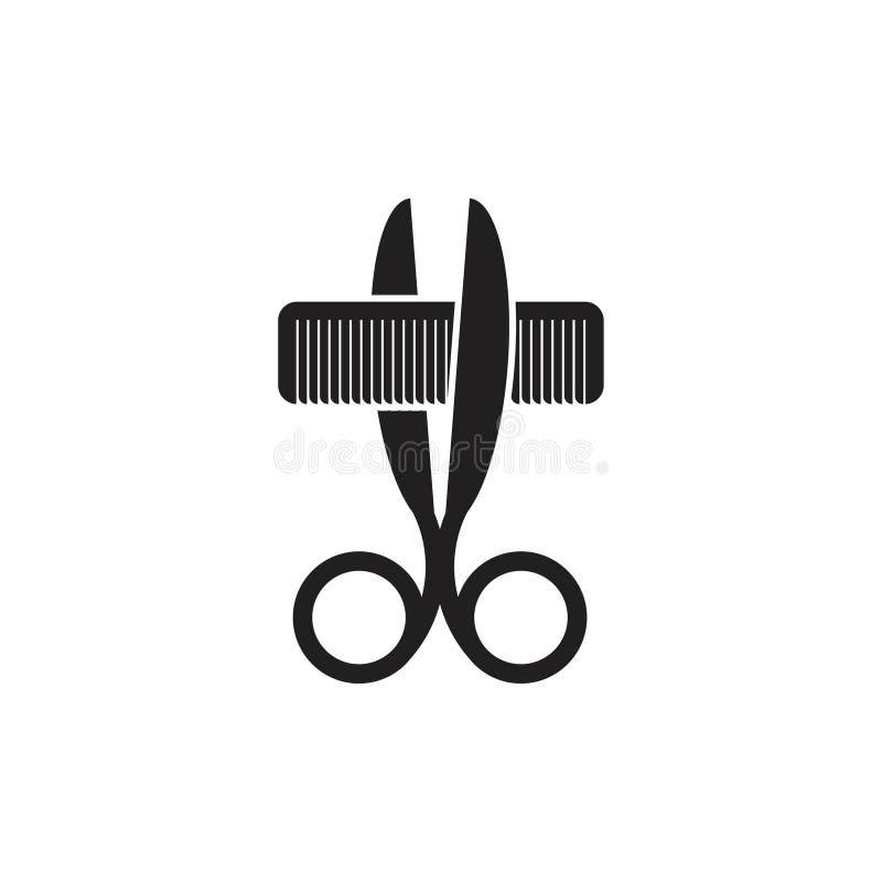 剪梳子3d商标传染媒介 库存例证