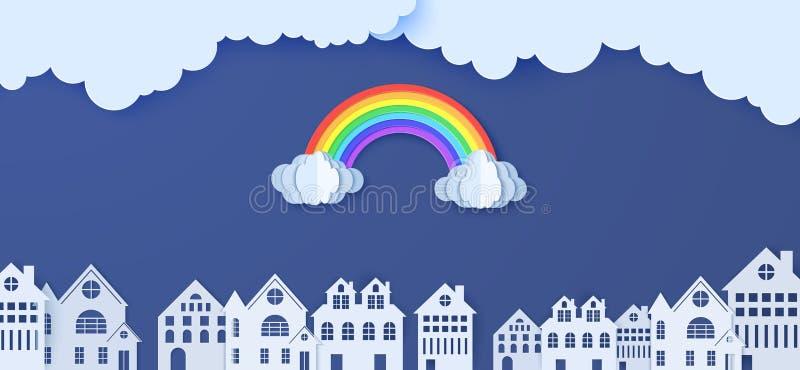 剪纸式的彩虹云 蓝天背景中的矢量多云天气和白纸剪 库存例证