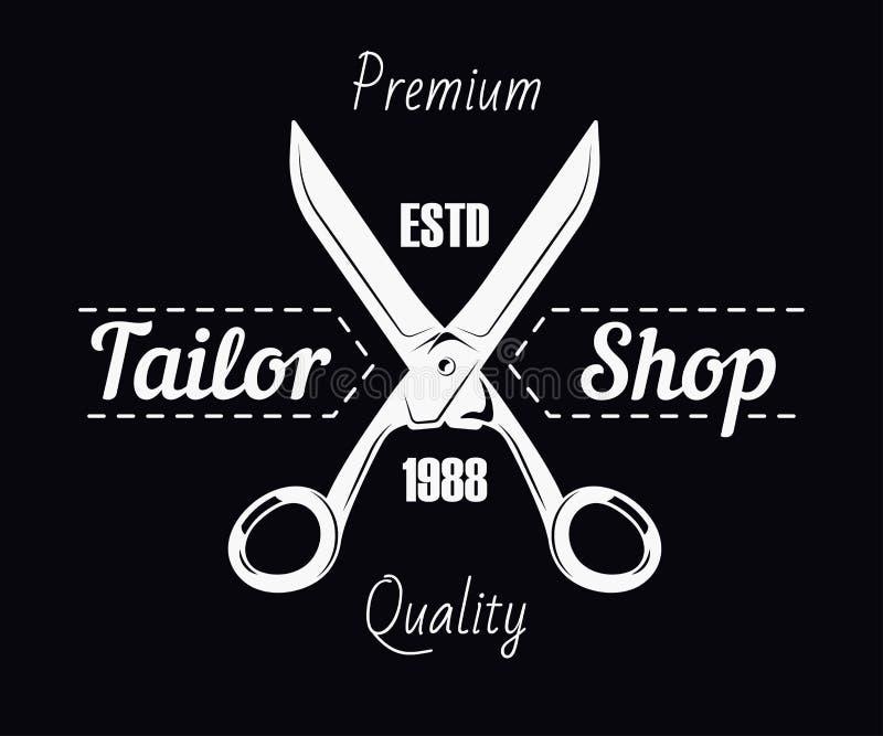 剪裁商店沙龙剪刀和缝合的针保险费传染媒介 库存例证