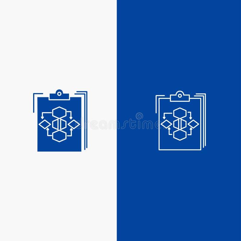 剪贴板、企业、图、流程、过程、工作、工作流线和纵的沟纹坚实象蓝色旗和纵的沟纹坚实象蓝色 库存例证
