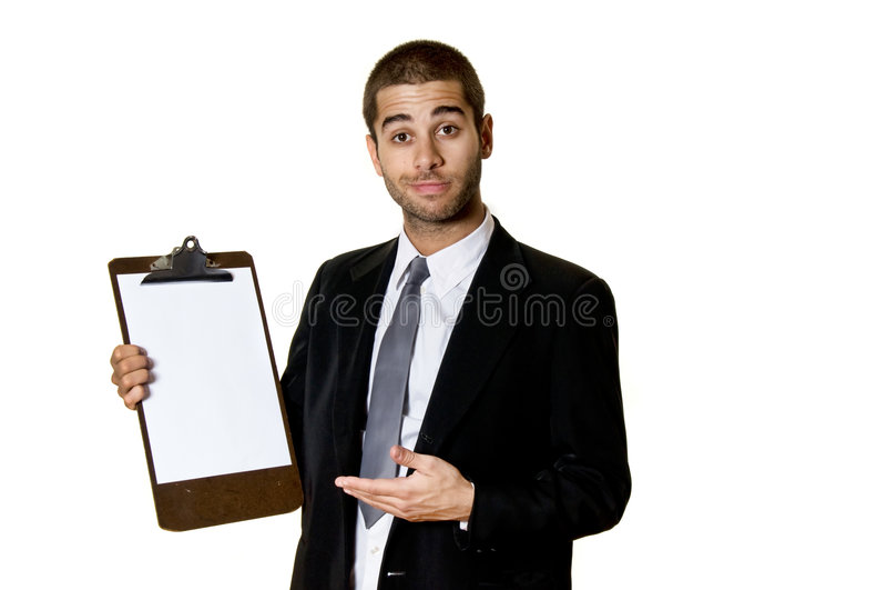 剪贴板人年轻人 库存图片