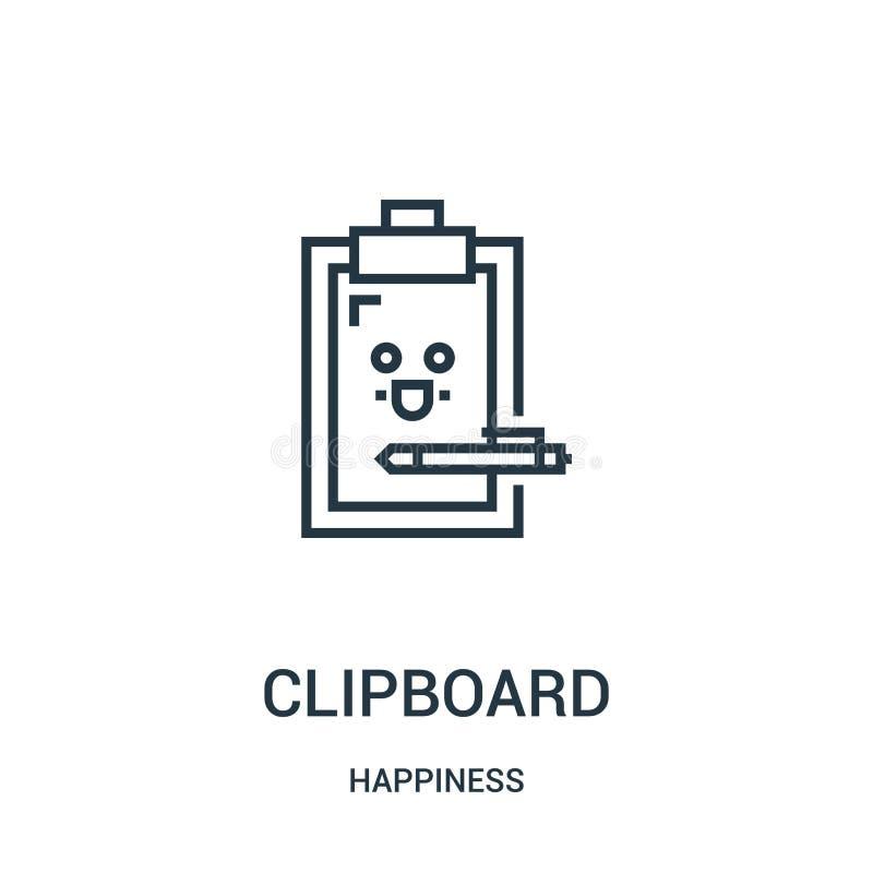 剪贴板从幸福汇集的象传染媒介 稀薄的线剪贴板概述象传染媒介例证 线性标志为使用 向量例证