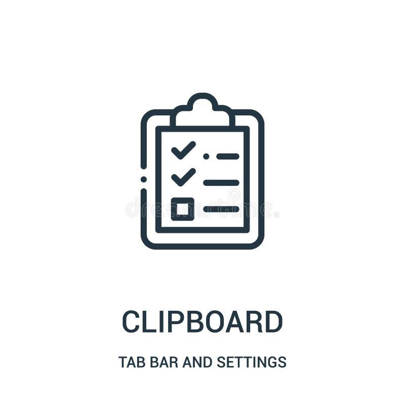 剪贴板从选项酒吧和设置汇集的象传染媒介 稀薄的线剪贴板概述象传染媒介例证 皇族释放例证