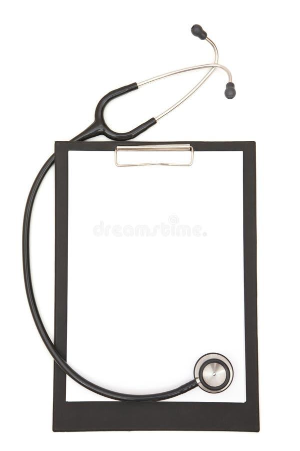 剪贴板医疗听诊器 免版税库存照片
