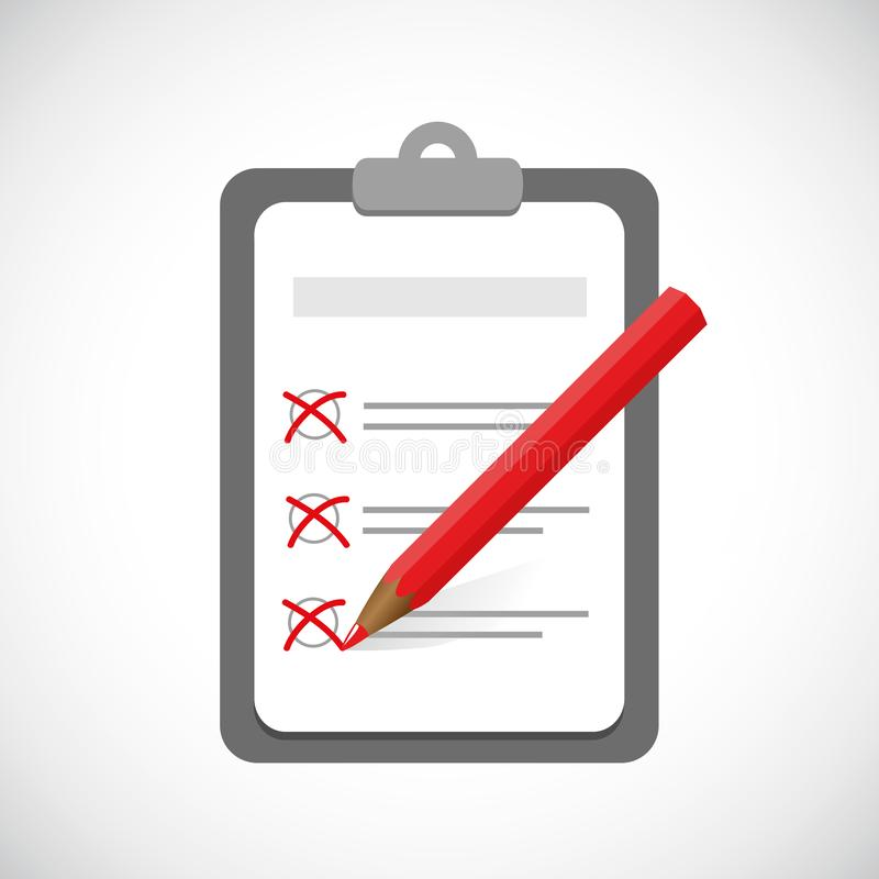 剪贴板和清单与校验标志和红色笔业务设计 向量例证