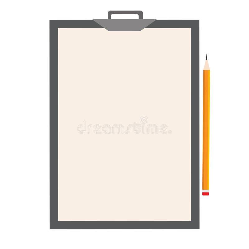 剪贴板和白色空白的纸片 也corel凹道例证向量 库存例证