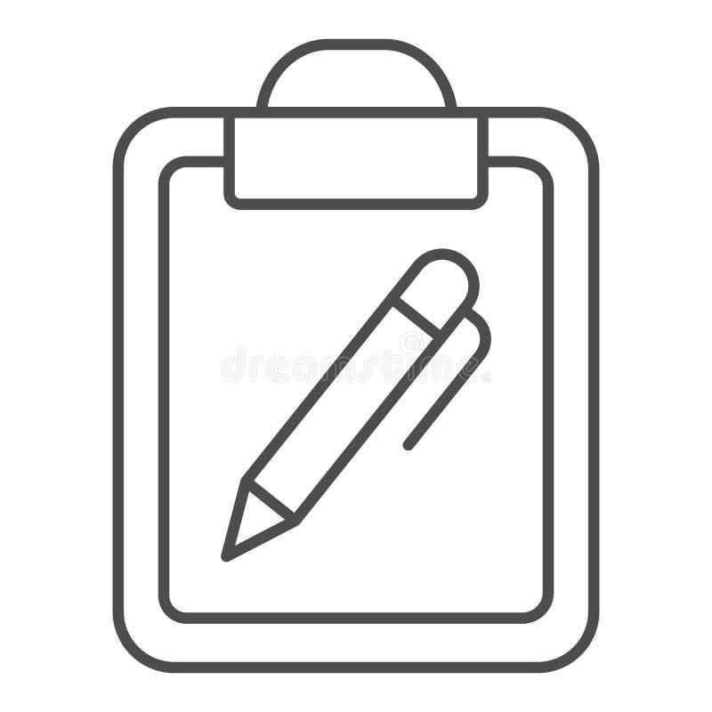 剪贴板和笔稀薄的线象 与笔在白色隔绝的传染媒介例证的文件 笔记概述样式设计 库存例证