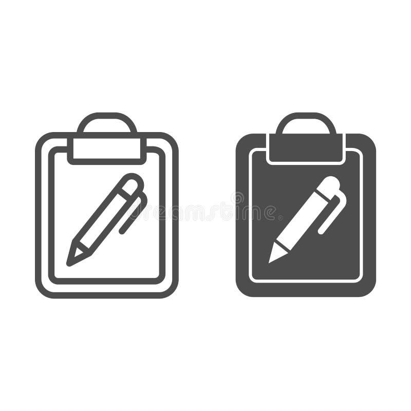 剪贴板和笔线和纵的沟纹象 与笔在白色隔绝的传染媒介例证的文件 笔记概述样式 皇族释放例证