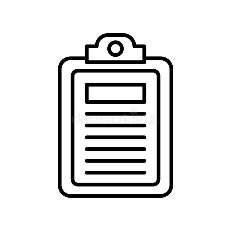 剪贴板在白色背景隔绝的象传染媒介,剪贴板标志,稀薄的线在概述样式的设计元素 皇族释放例证