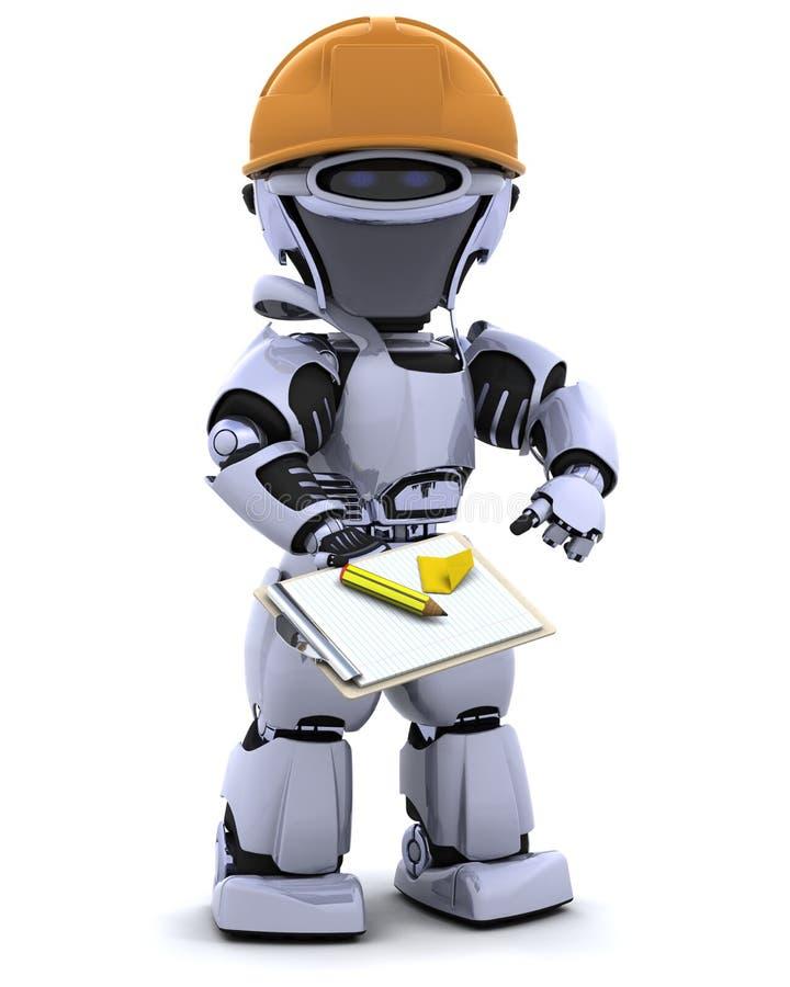 剪贴板安全帽机器人 皇族释放例证