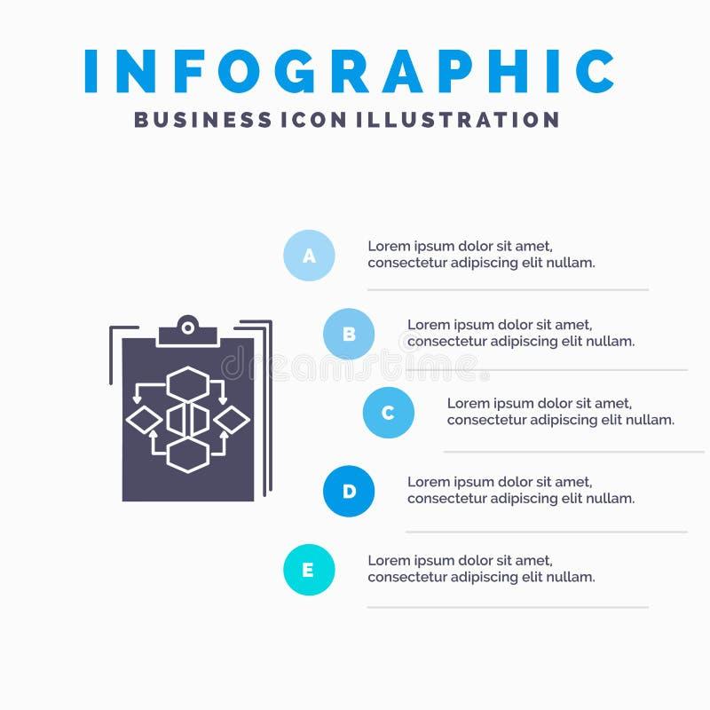 剪贴板,事务,图,流程,过程,工作,工作流坚实象Infographics 5步介绍背景 皇族释放例证