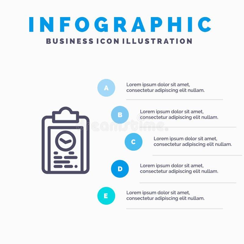 剪贴板,教练,计划,进展,训练线象有5步介绍infographics背景 皇族释放例证