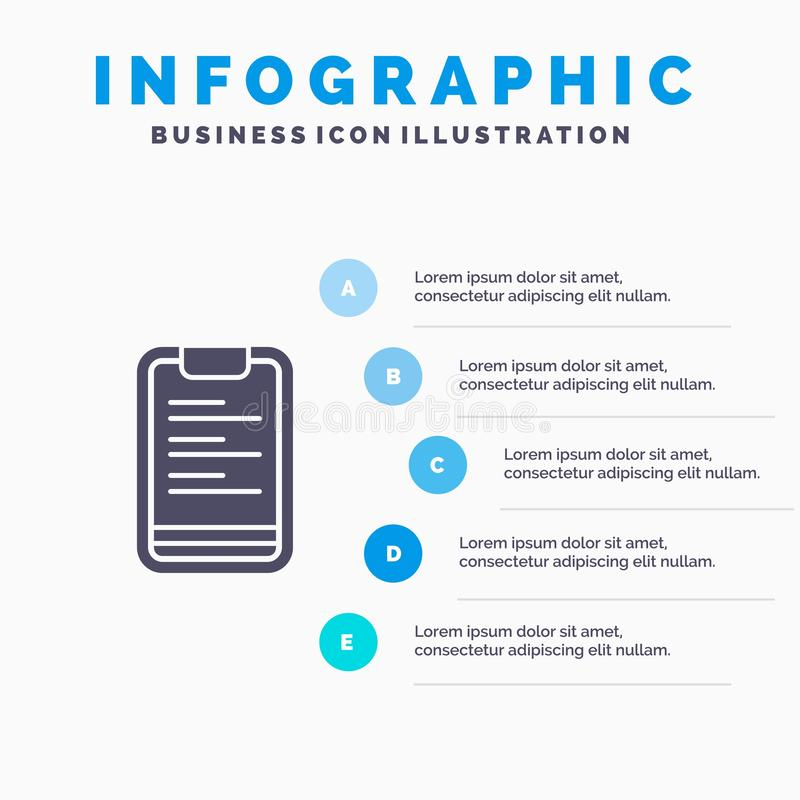 剪贴板,文本,板,刺激坚实象Infographics 5步介绍背景 向量例证