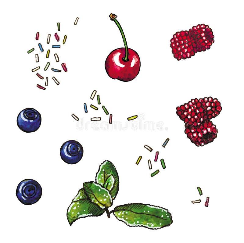剪贴美术用莓果、樱桃、蓝莓、莓、薄荷的分支和含糖的顶部,手拉的水彩 库存例证
