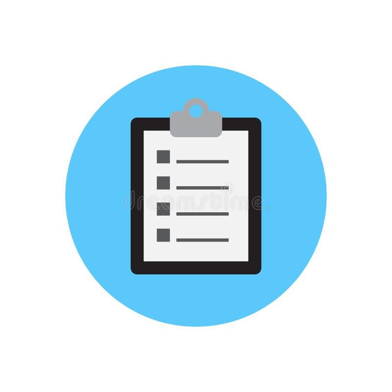 剪贴板文件平的象 圆的五颜六色的按钮,圆传染媒介标志,商标例证 皇族释放例证