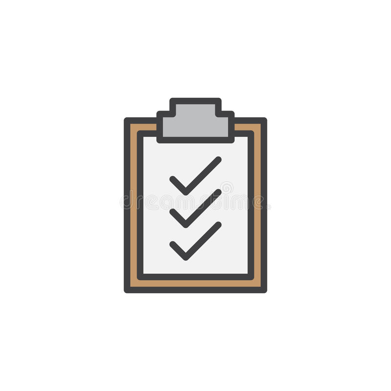 剪贴板校验标志排行象,被填装的概述传染媒介标志,在白色隔绝的线性五颜六色的图表 库存例证