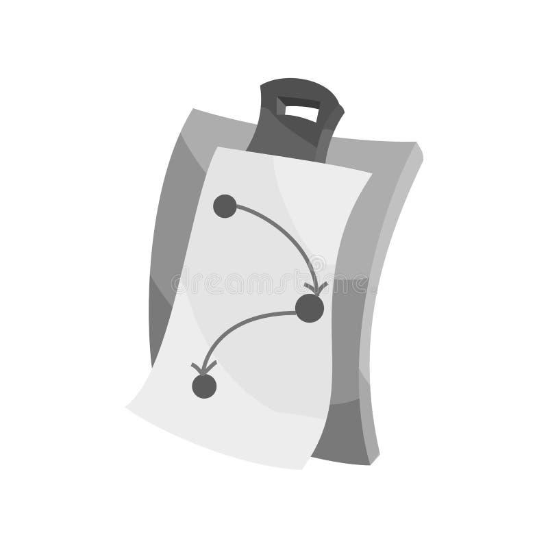 剪贴板象,黑单色样式 向量例证