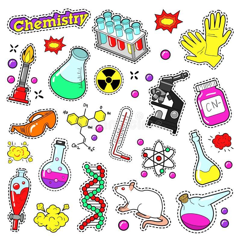 剪贴薄的化学装饰元素,贴纸,补丁,徽章 皇族释放例证